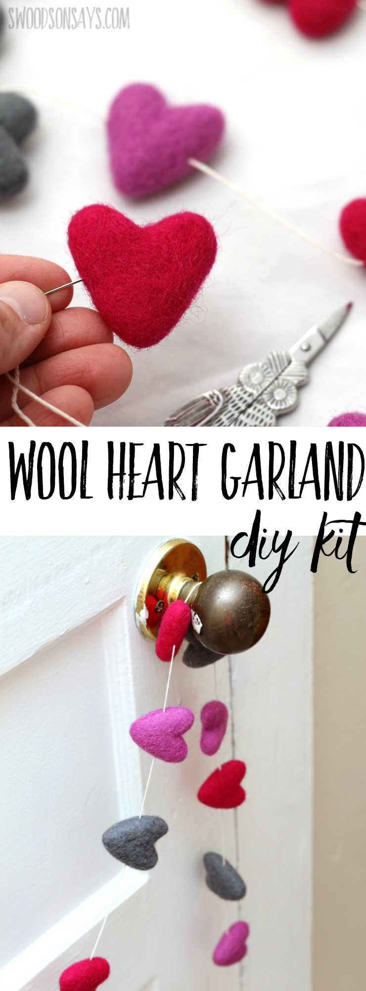 Simple Valentine's Day decor ideas can be beautiful, too! Check out this needle felted wool heart garland kit; it takes less than 10 minutes to make and you can choose your colors! #valentinesday #diyvalentine #valentinecraft