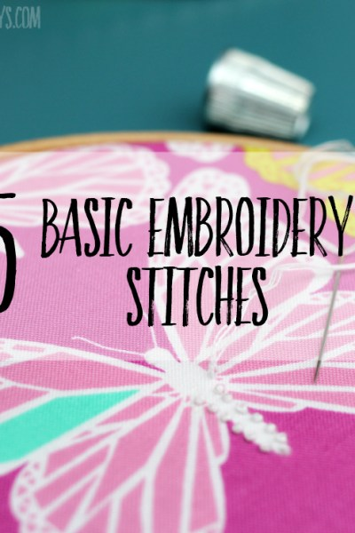 Check out the 5 basic embroidery stitches everyone should know. Perfect embroidery stitches for beginners, you can stitch all sorts of patterns with these embroidery tutorials! #embroidery #handsewing
