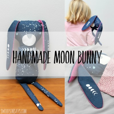 Love moon phases? You have to see this beautiful Monaluna organic fabric sewn into a sweet bunny with upcycled wool sweater ears!