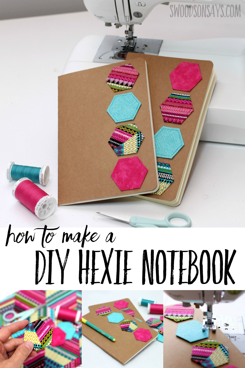 What a cute notebook diy with fabric scraps! Use up english paper piecing to make the hexagons and see the one thing I do differently to attach them. Super fun DIY mother's day gift! #paperpiecing #sewing #diy #crafts