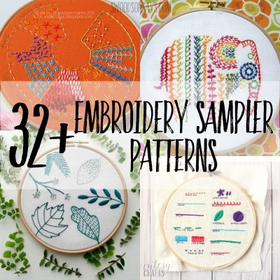 32+ hand embroidery sampler patterns