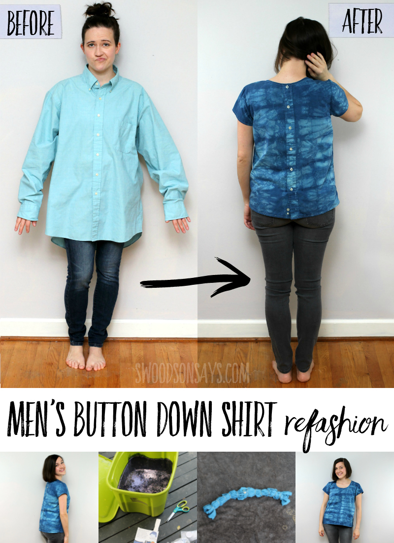 Check out this fresh mens button down shirt refashion! Flipping the buttons to the back and adding some indigo tie dye totally changed the look, taking this mens shirt to womans shirt refashion to the next level. Follow the simple mens shirt refashion tutorial to take a stained dres shirt and make it over into a trendy top. #refashion #upcycle #sewing #tiedye #indigodye #sewingforwomen