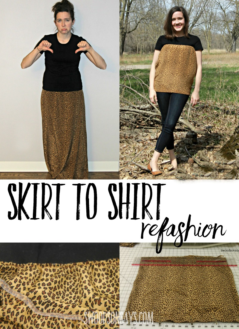 Check out this vintage skirt to shirt refashion! Step by step tutorial for how to make a modern top out of an outdated shirt. Great skirt upcycle idea. #refashion #sewing #upcycle