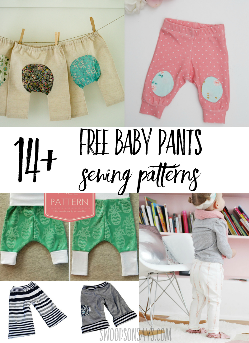 Check out this fun list of free baby pants sewing patterns! Perfect baby shower gifts to sew, there are tutorials for woven baby pant patterns and knit baby pant patterns linked. So many cute things to sew for babies! #sewing #pdfpatterns #diy