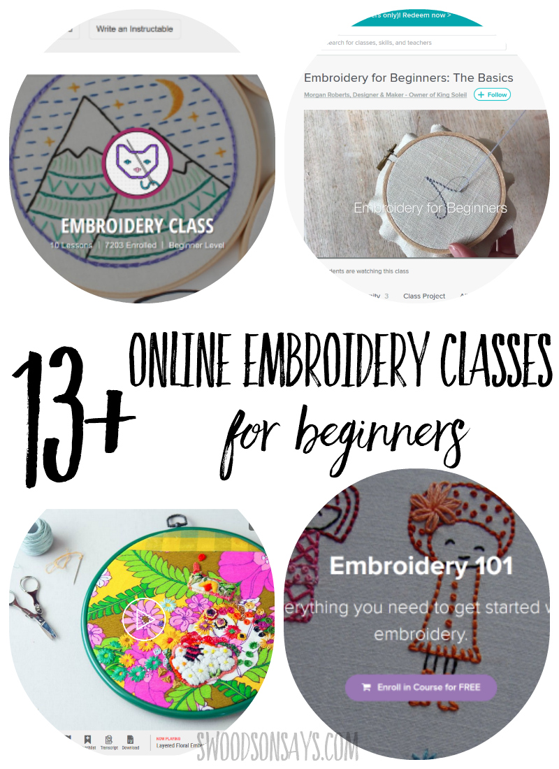 Check out this list of Online Embroidery Classes for Beginners! Lots of different hand embroidery styles and patterns to choose from, covering hand embroidery basics, including video lessons and picture tutorials. Learn how to embroider from home with these classes and start stitching! #embroidery #handembroidery
