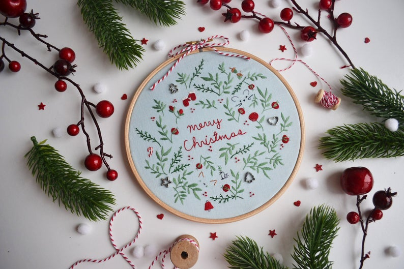 floral christmas embroidery design