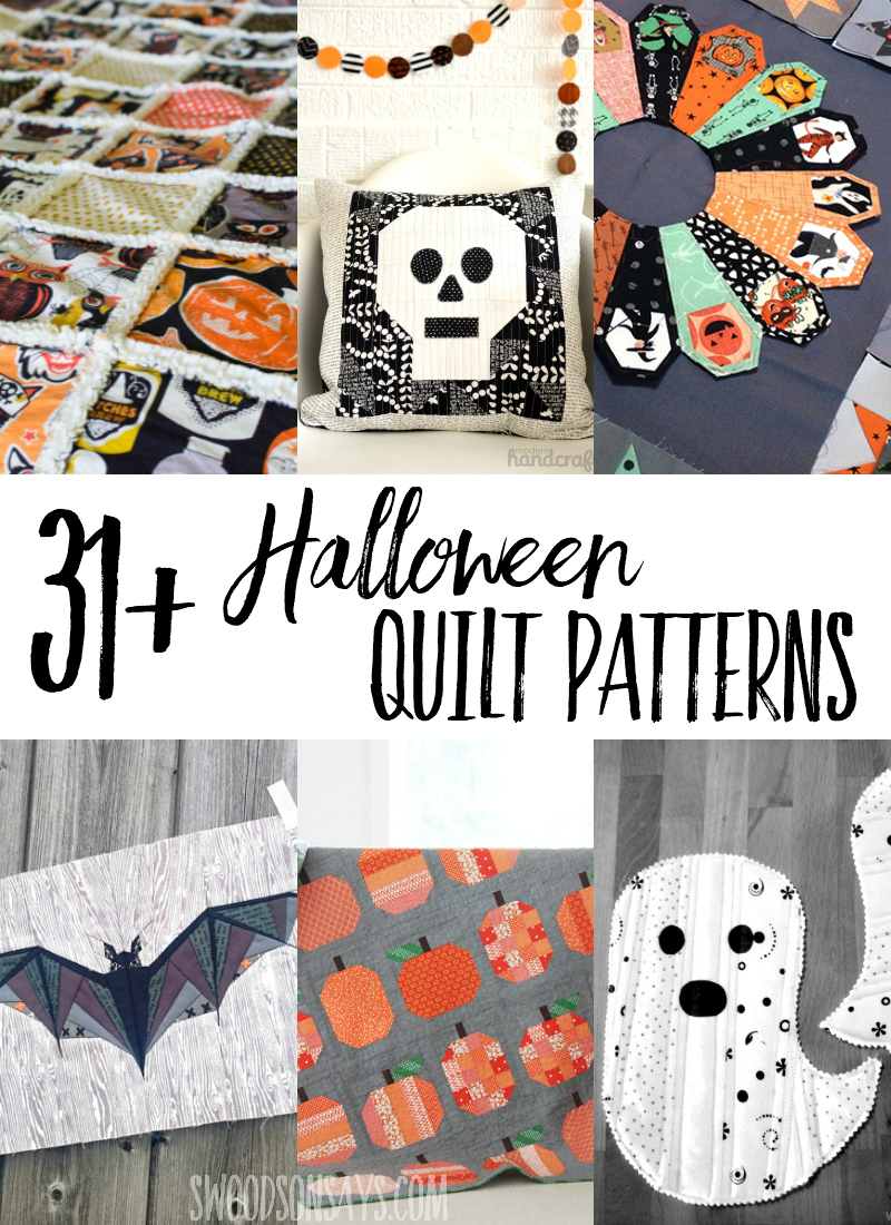 Looking for modern Halloween quilt patterns? Here is a big list of quilt patterns, block tutorials, and free Halloween quilt patterns to browse! #halloween #quilting #sewing