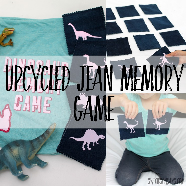 How to make a fabric scrap matching game - upcycled jean scraps make for a fun memory game and a Cricut cuts out iron-on designs super easily. Tutorial for how to make the simple matching game and links to the project on Cricut Design Space.