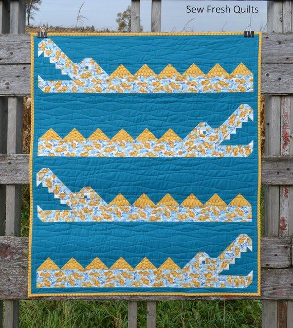 kids crocodile alligator quilt pattern