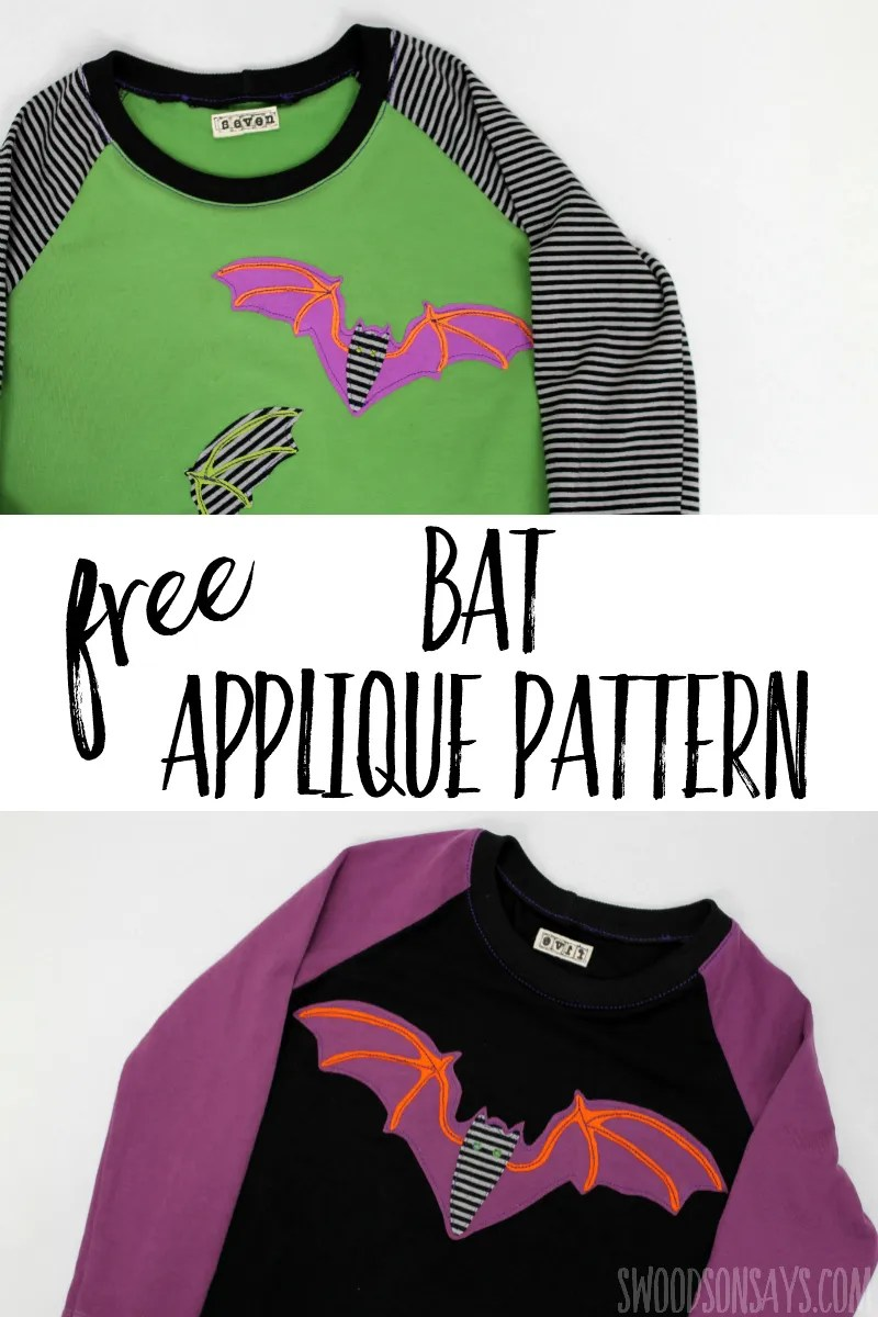 Free bat applique pattern! Fun way to make a diy halloween shirt; this is a full tutorial with photo steps if you are new to applique. Upcycle some scraps and sew this fun Halloween project! #applique #sewing #halloween