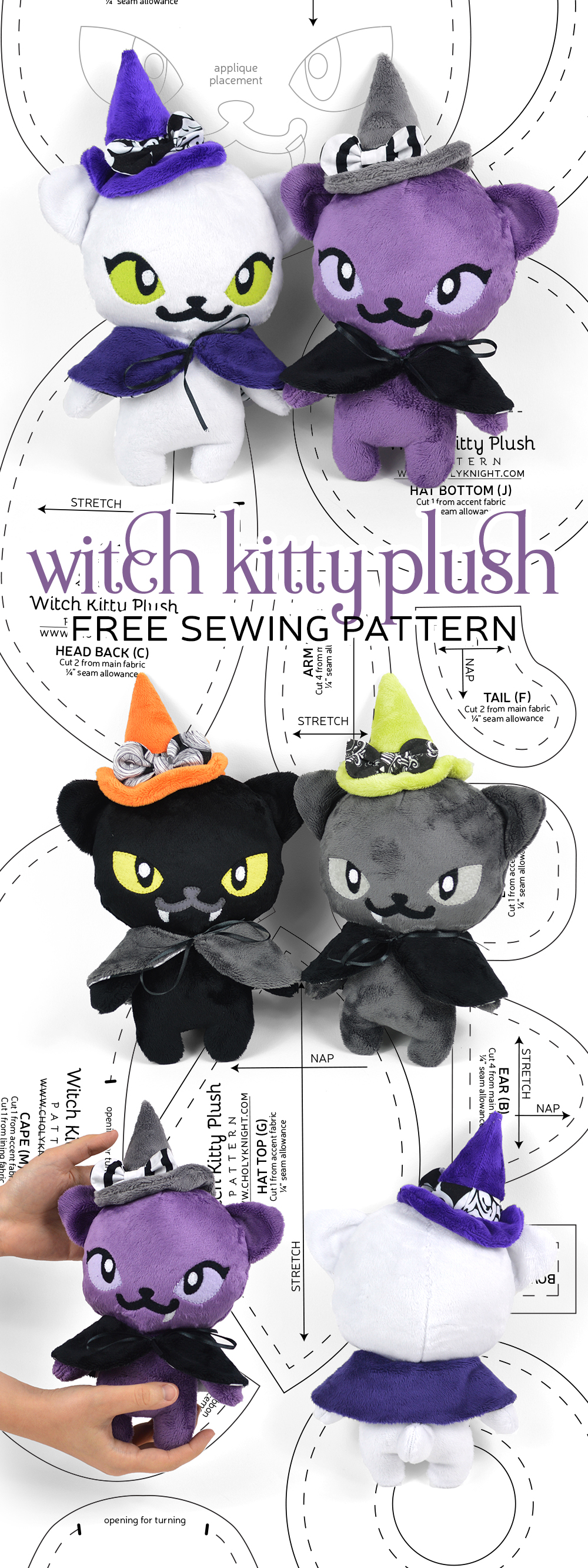 stuffed cat witch sewing pattern