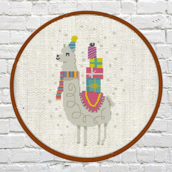 christmas llama cross stitch