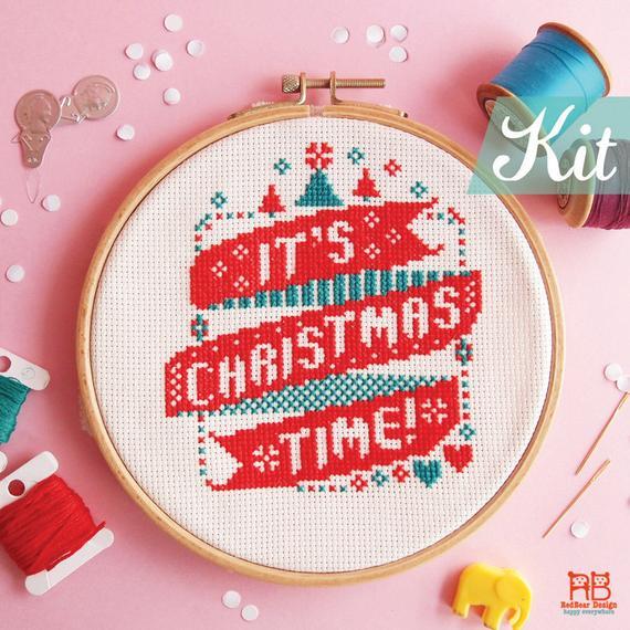 christmas time modern cross stitch kit