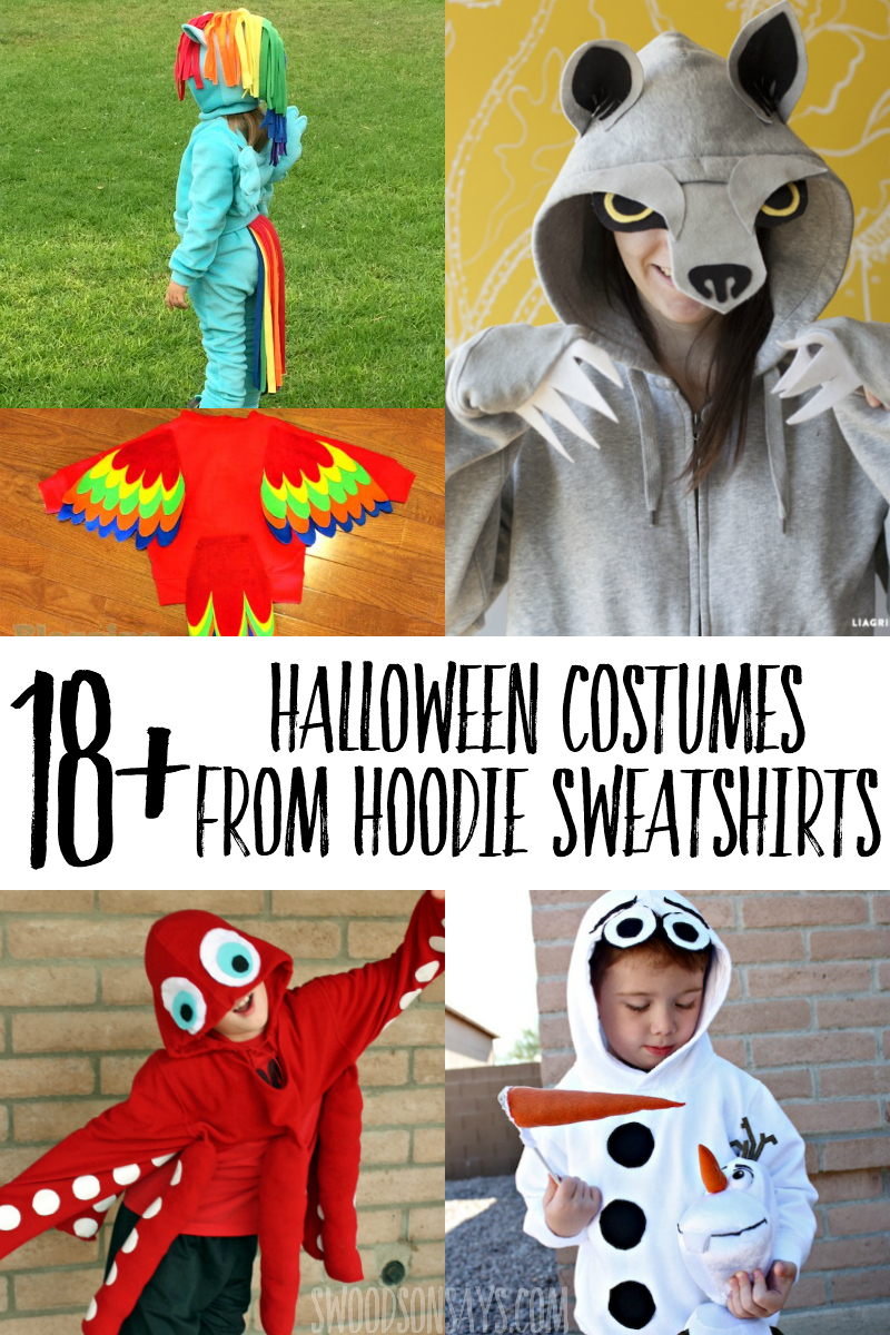 The 31st is coming up soon - check out this list of costumes you can make with a hooded sweatshirt! From no sew to more intricate designs, this list is sure to have a creative hoodie Halloween costume idea for everyone:#halloween #sewing