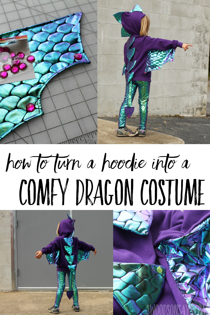 Sew up a diy dragon costume with this easy tutorial! Pretty 'scale' fabric makes it easy and your kids will be able to wear this way after Halloween is over. See how to sew dragon wings fast in this diy hoodie costume idea. #ad #handmadewithjoann #halloween #sewing
