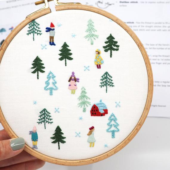 minimalist winter hand embroidery pattern