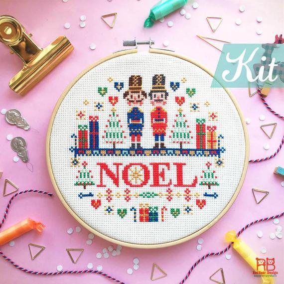 modern noel christmas cross stitch pattern
