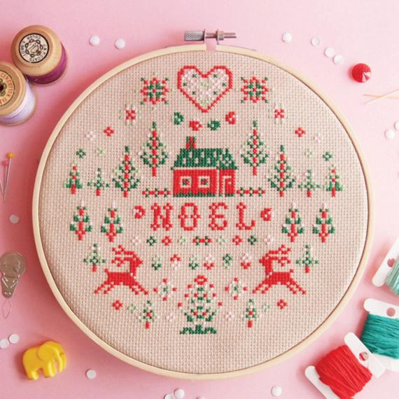 modern noel christmas cross stitch