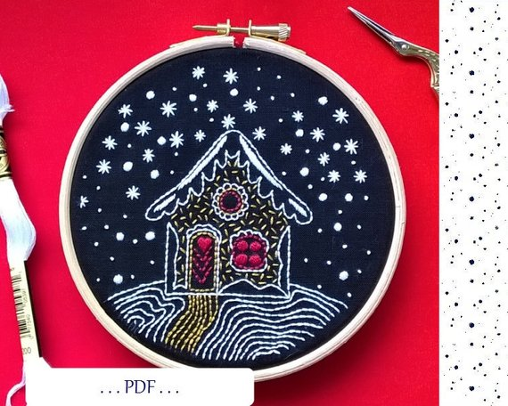 snow cottage hand embroidery pattern