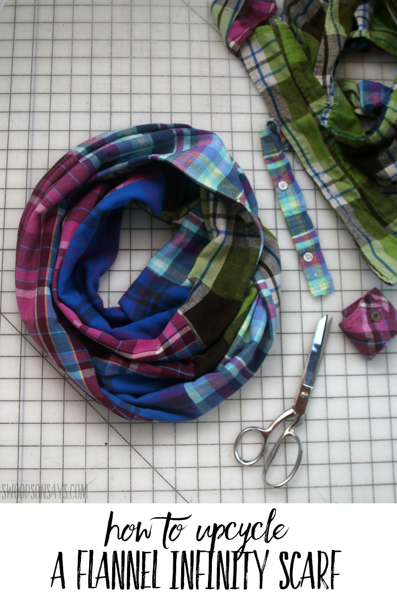 upcycled flannel infinity scarf
