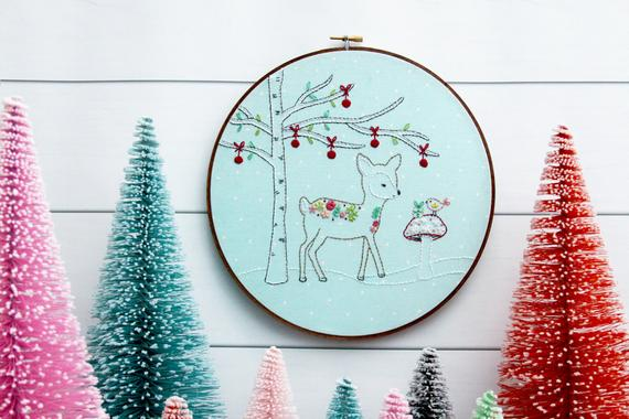 winter deer hand embroidery pattern
