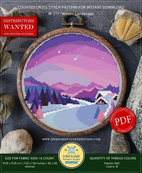winter landscape cross stitch pattern