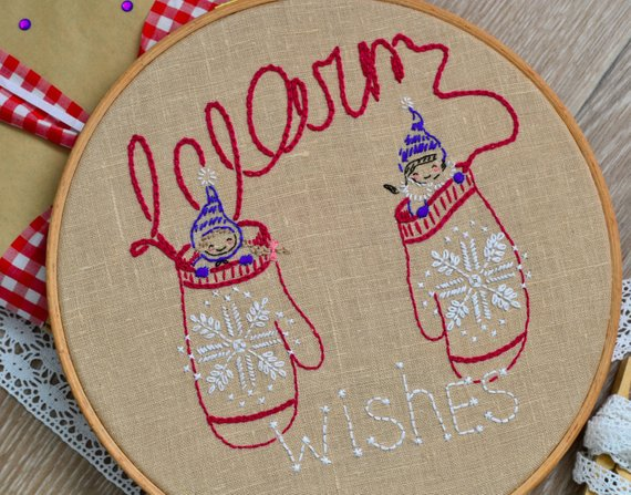 winter mittens hand embroidery pattern