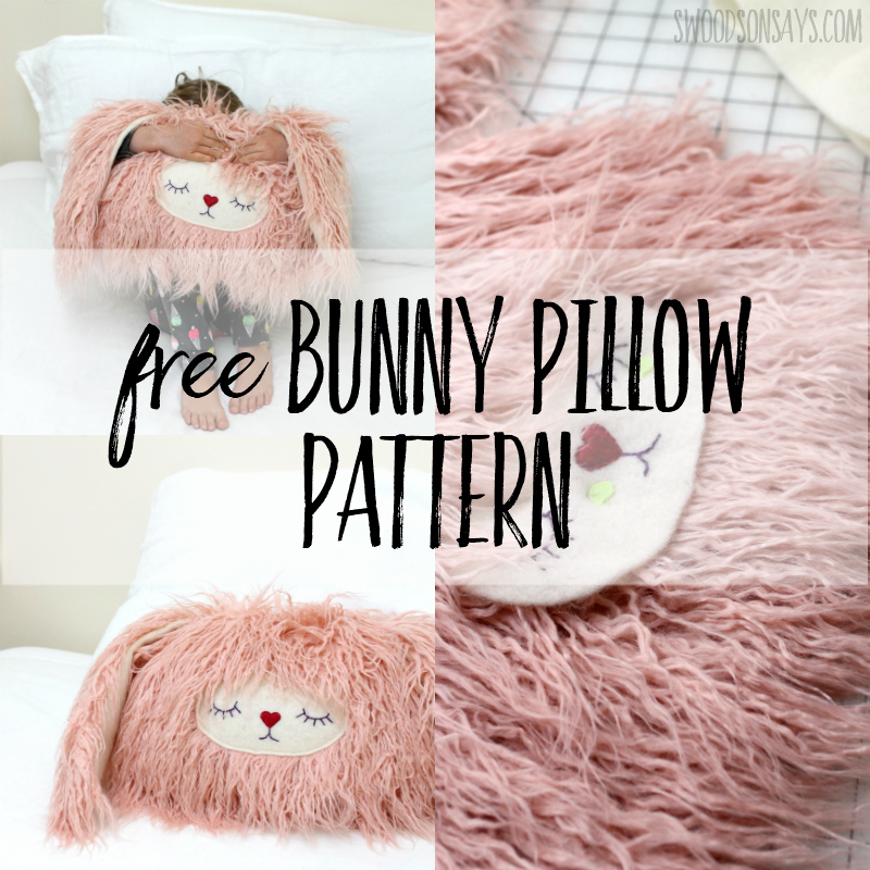 Free sewing pattern: Bunny pillow softie