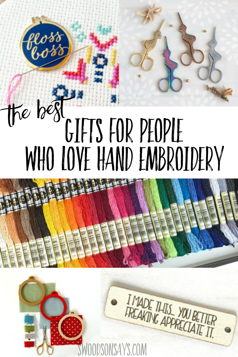 The best gift ideas for people who love hand embroidery! A fun gift guide for hand sewing crafters, filled with fun & practical present ideas. #embroidery #handembroidery #giftguide #sewing