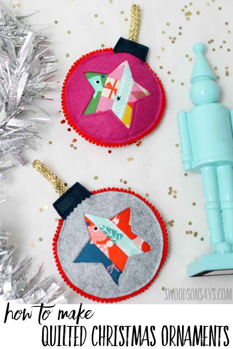 See how easy it is to make your own quilted Christmas ornaments! Use up your tiny scraps and add this sweet decoration to your tree this year! Easy Christmas ornament sewing tutorial. #christmas #quilting #patchwork #ornament #sewing