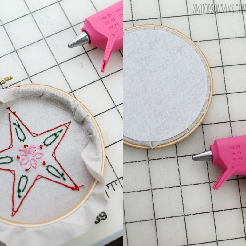 finishing the back of an embroidery hoop felt