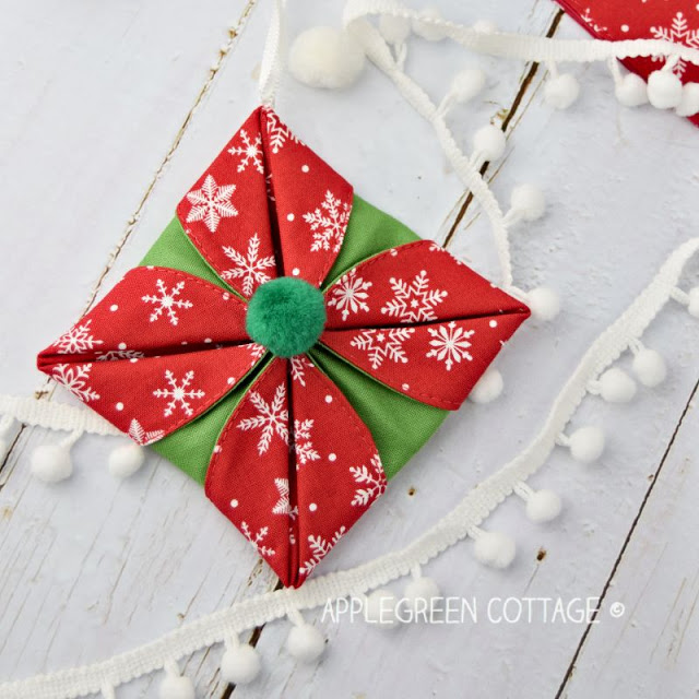 folded origami christmas ornament tutorial fabric