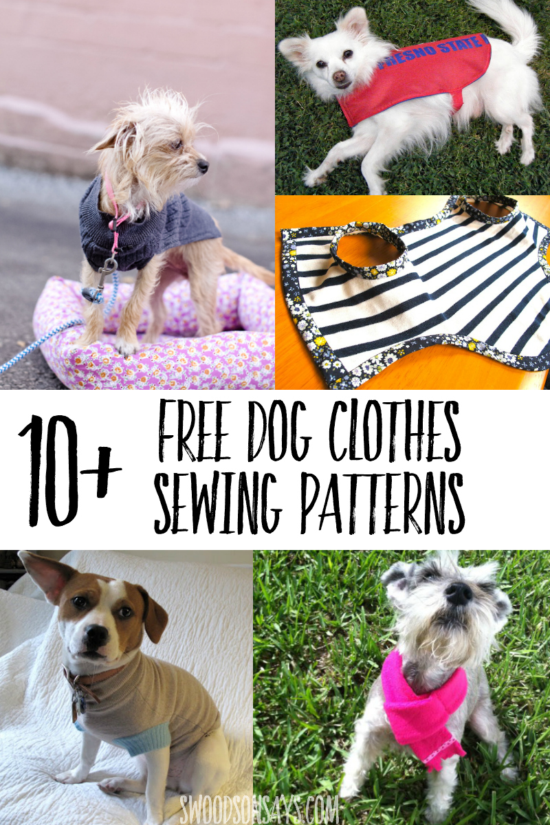 Great list of free printable dog clothes patterns to sew! So many options for how to sew dog clothes with free tutorials for all sizes. #sewing #dogs