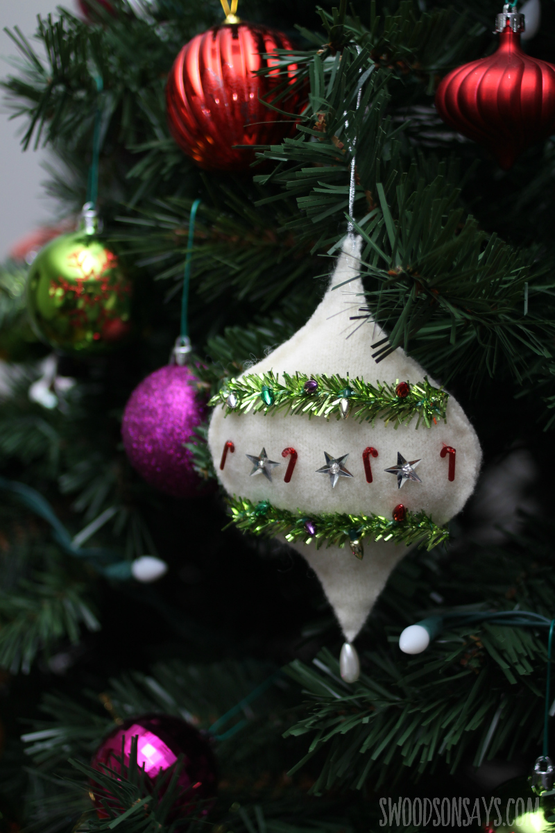 hand sewn wool ornament