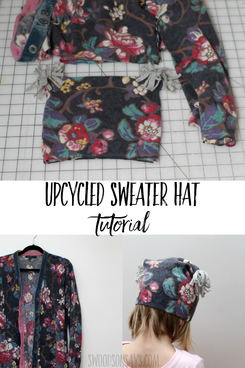 Get cozy this winter and turn an old sweater into a new hat! This tutorial shows how to make a hat from a sweater with a fun upcycle sewing tutorial. #sewing #upcyle