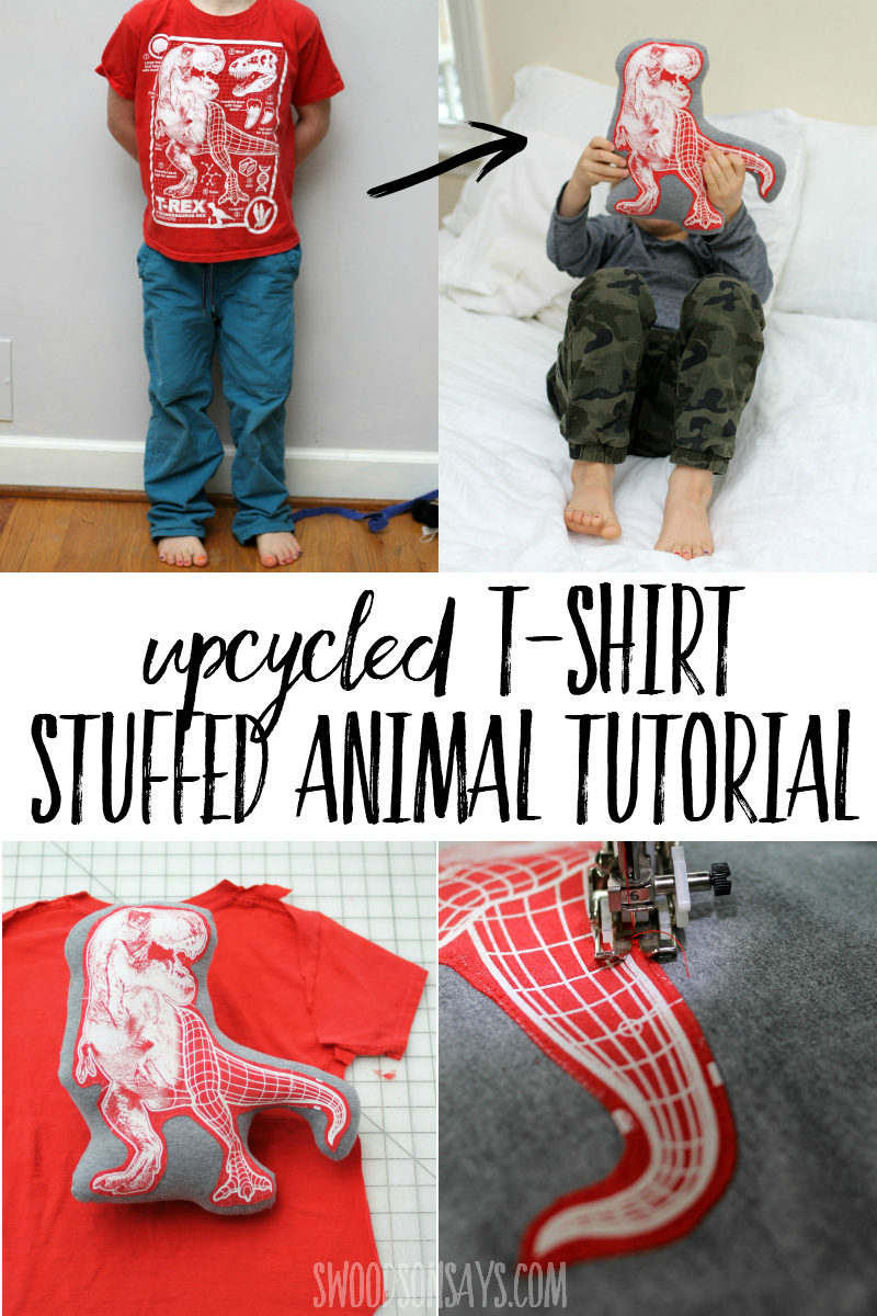 Sew a stuffed animal from an old t-shirt with this easy upcycle sewing tutorial! This is the easiest way to make a soft toy and kids will love seeing their favorite tshirts turned into snuggle buddies. #sewing #upcycled #stuffedanimal