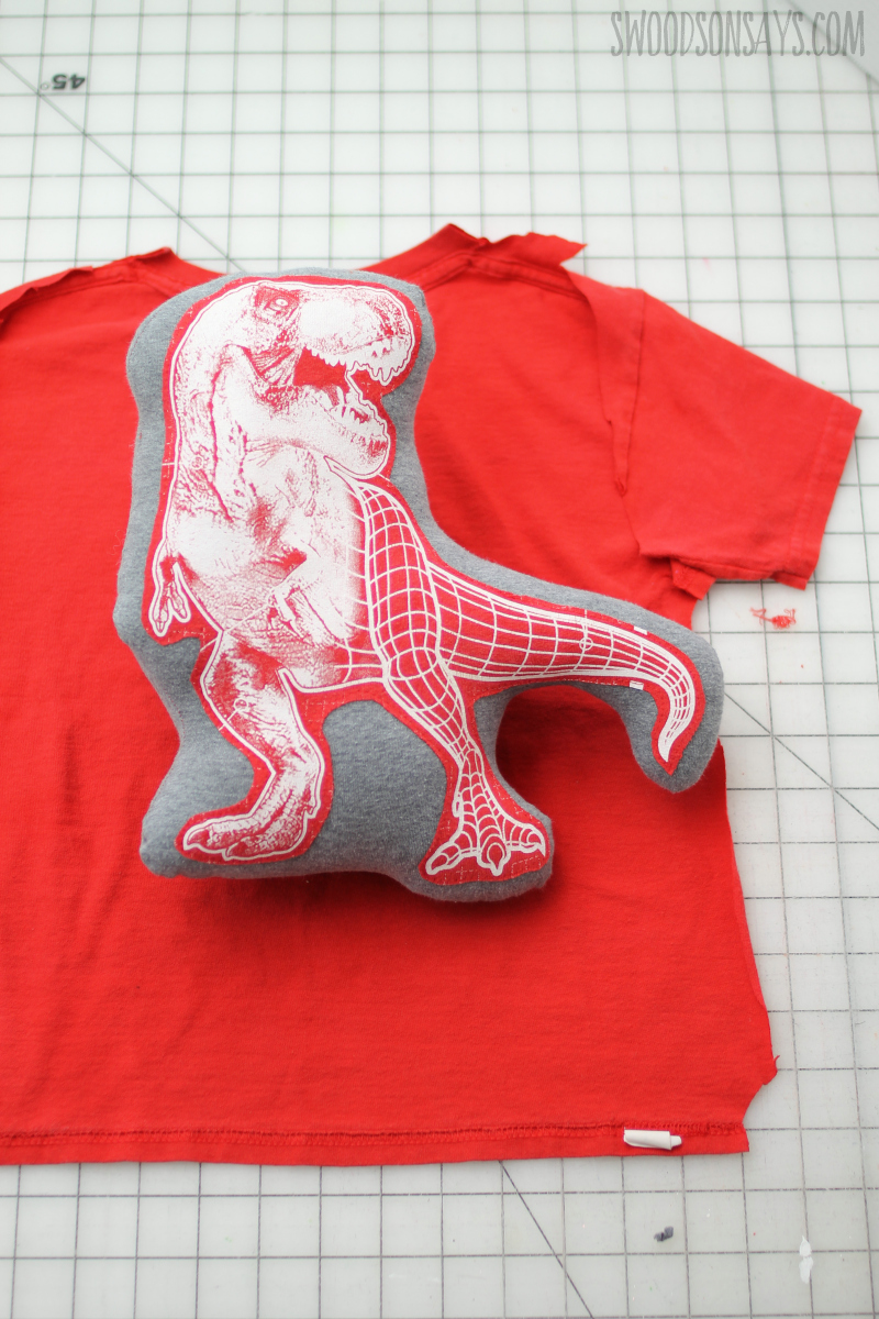 DIY Summer Sewing Projects For Kids - Up-cycled T-shirt Stuffed T-Rex