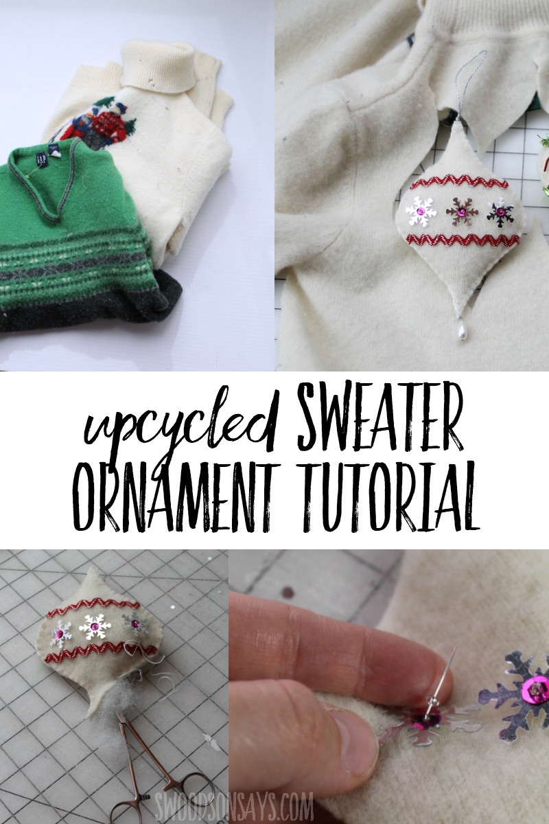 Sew inexpensive Christmas ornaments out of old sweaters with this free pattern and tutorial! Fun upcycled Christmas craft with a printable template.