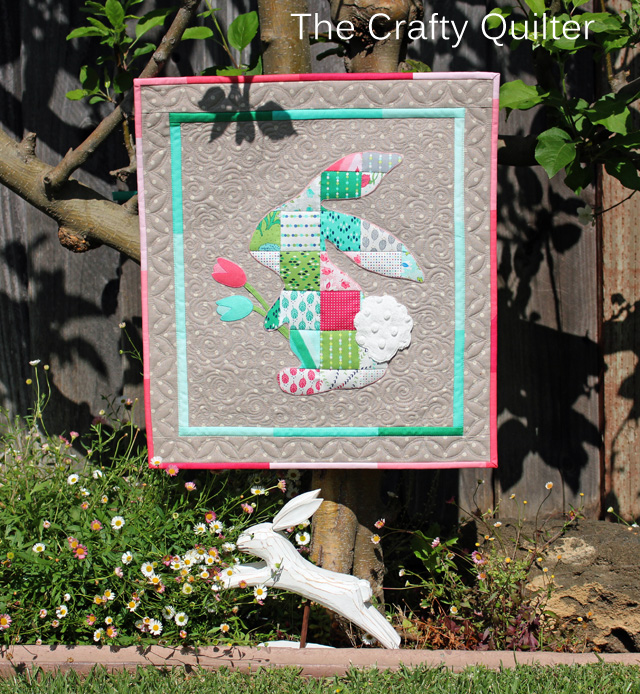 patchwork bunny mini quilt