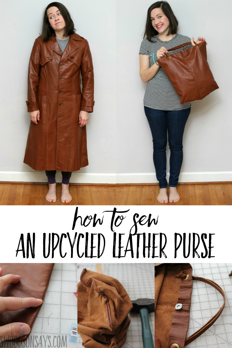 Easy sewing tutorial with this before & after jacket upcycle!! After months of hunting for a leather garment this, I got to shop secondhand from the comfort of my couch. Sharing the full #refashion tutorial on the blog, with a jacket from #FacebookMarketplace #FBMarketplaceSpringRefresh #ad