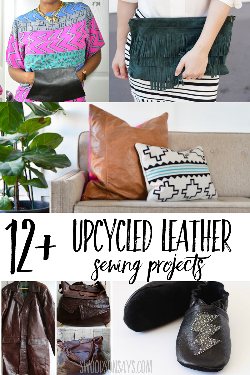 Have an old jacket hanging around? Beat up couch? Try one of these upcycled leather diy ideas and make something new! Fun ways to use recycled leather in craft and sewing projects. Lots of beginner sewing projects to refashion and upcycle old leather. #sewing #refashion #upcycle