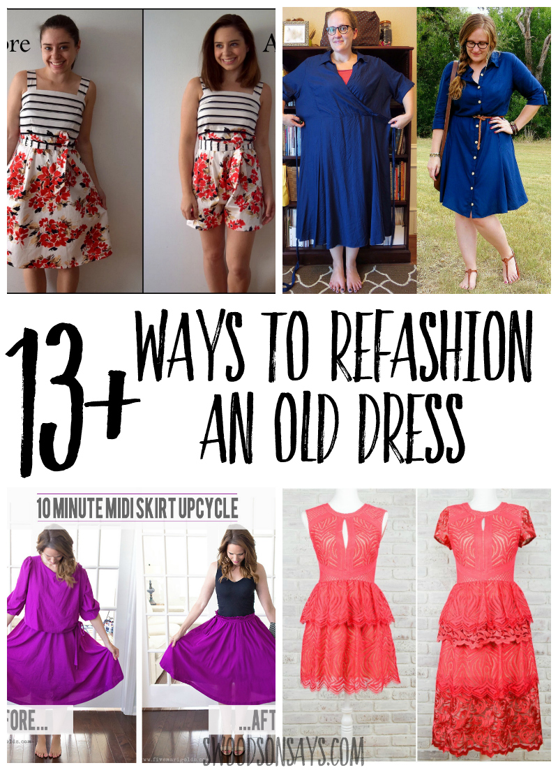 A collage of before and after dress refashion pictures