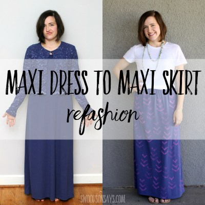 Maxi dress to maxi skirt refashion