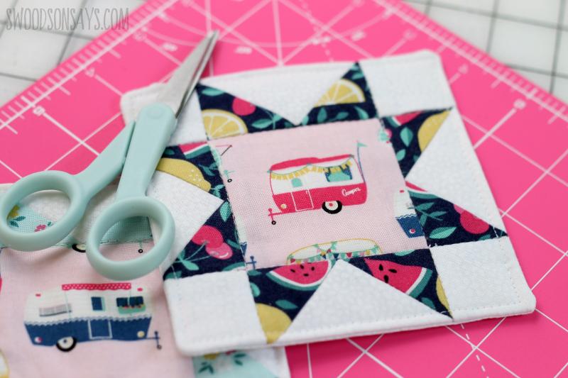 modern quilt block coaster sewing tutorial