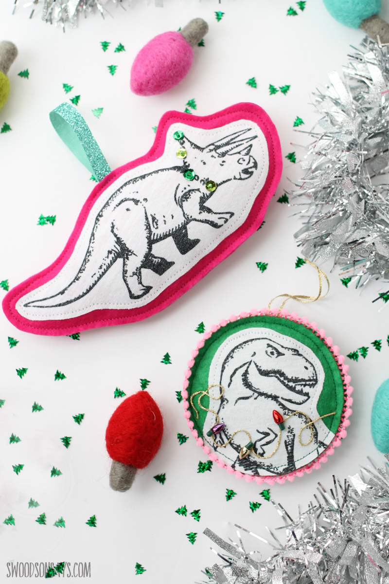 felt dinosaur ornament diy tutorial