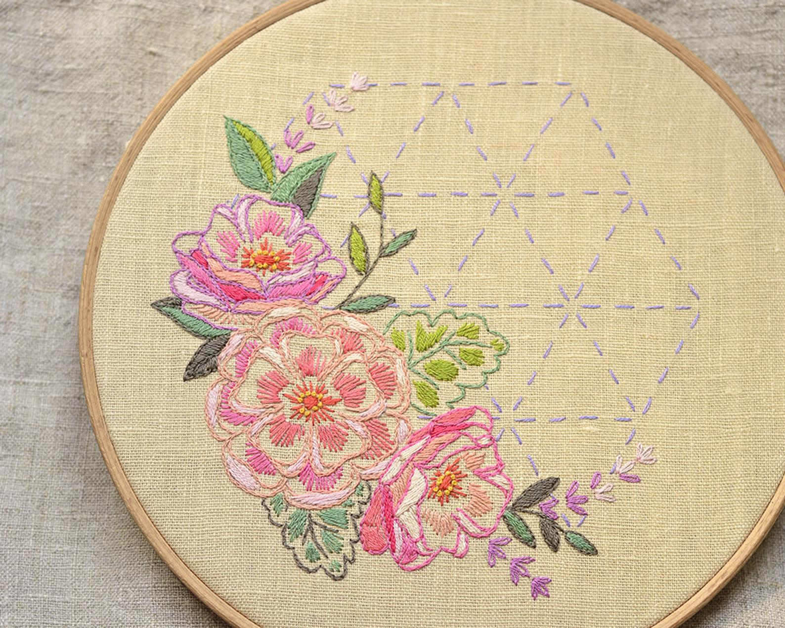 floral hexagon embroidery pattern
