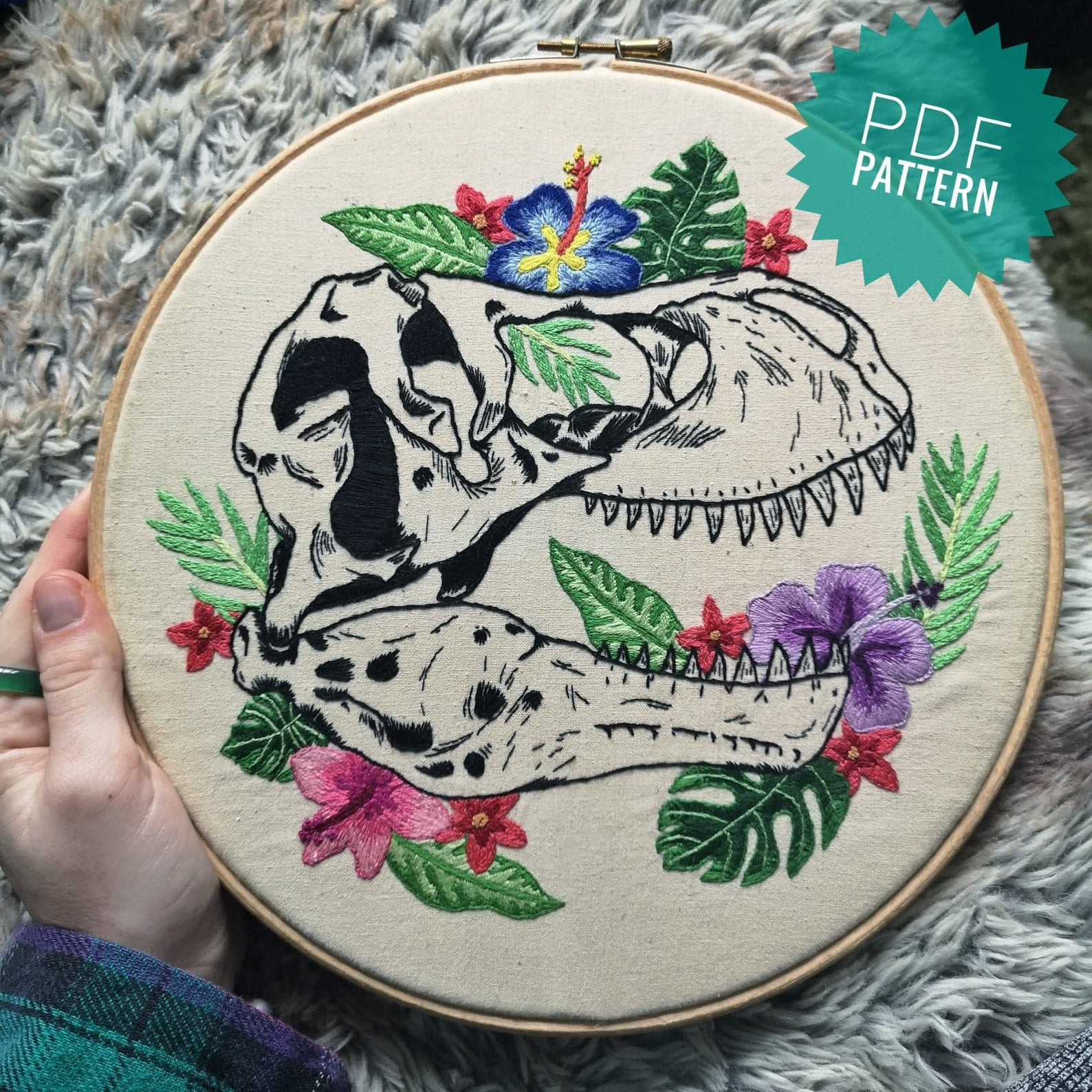 floral trex embroidery pattern