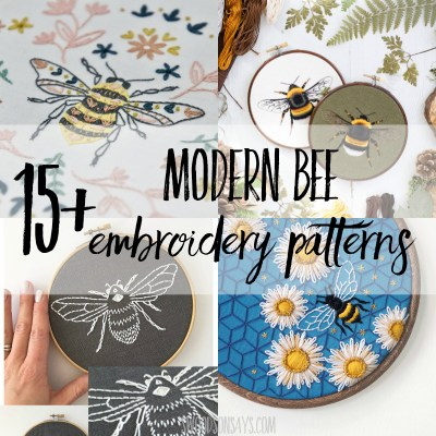 15+ modern bee embroidery pattern options