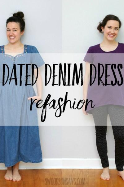 Dated denim dress refashion to tunic top