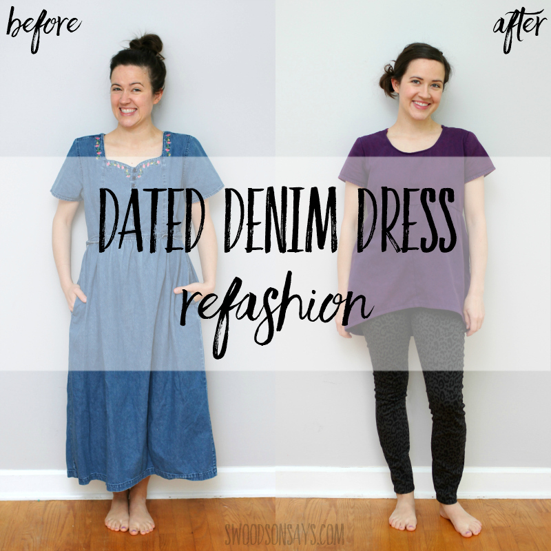 Dated denim dress refashion to tunic top